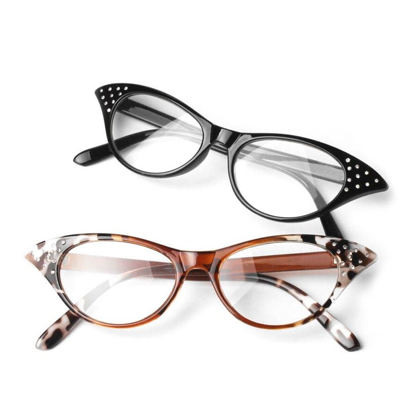 NoEnName_Null Women Rhinestone Cat Eye Sexy Vintage Style Clear Lens Reading Glasses-modlily