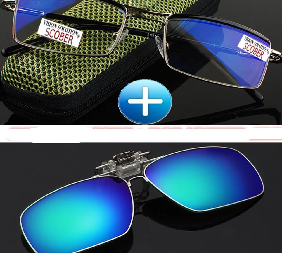 =SCOBER= Polarized Clip + Classic Titanium Alloy Blue Coated Lenses Business Double Bridge Reading Glasses +0.5 +0.75 +1 to +6-modlily