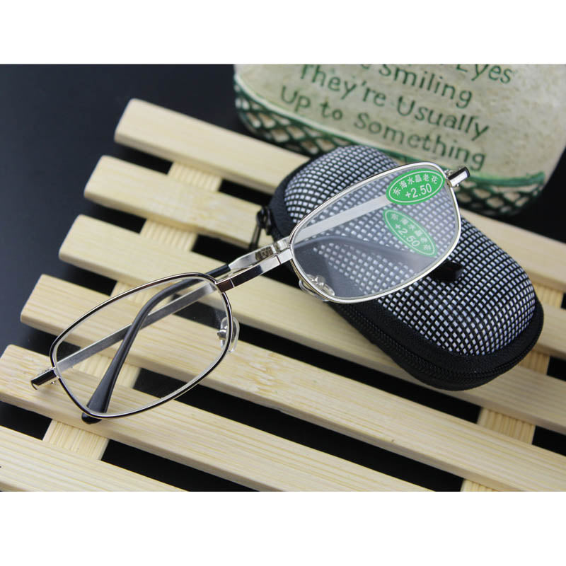 1pc Folding Metal Reading Glasses Mix Fashion New +1.0 1.5 2.0 2.5 3.0 3.5 4.0 Diopter With Case Readers Square Large Lenses-modlily