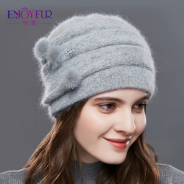 ENJOYFUR Cashmere Pompom Women Winter Hats Caps Stripe Knitted Hat Female Fashion Lady Middle-Aged Cap Rhinestones Thick Beanie-modlily