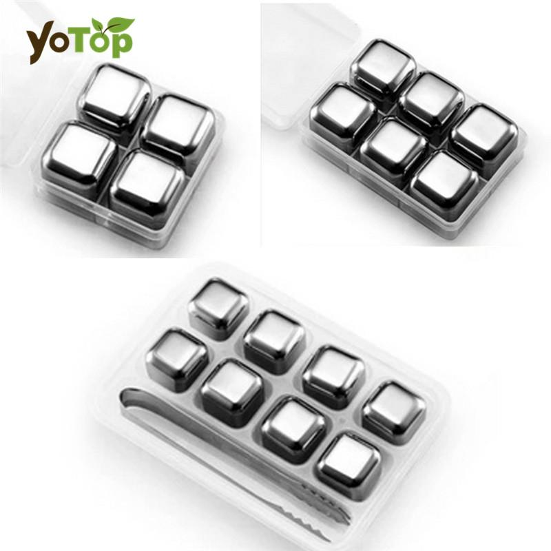 YOTOP Stainless Steel Whisky Ice Cubes/Bar KTV Supplies Magic Wiskey/Wine/Beer cooler 4 6 8pcs Rocks Ice Coolers Holder Boxed-modlily