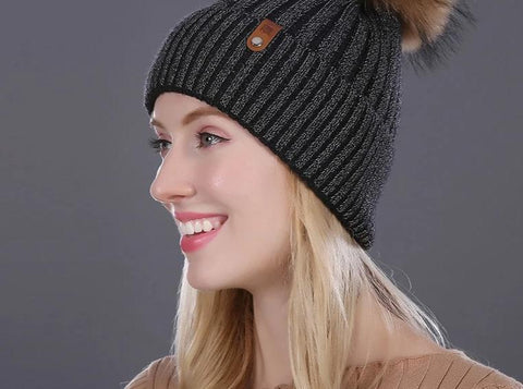 [FLB] Women Winter Hat Real Mink Fur Pom Poms Girl 'S Hats Wool Knitted Beanies Cap Solid Colors Gorros Cap Female Causal Hat