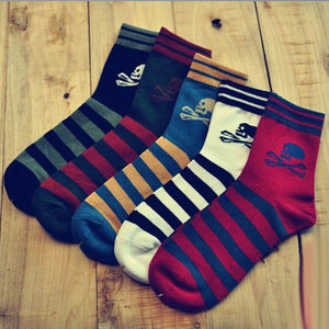 10PCS=5Pairs/lot High Quality Harajuku Skull Striped Socks 5Colors Brand Men Causal Cottorn Socks Breathable Comfortable Wearing-modlily