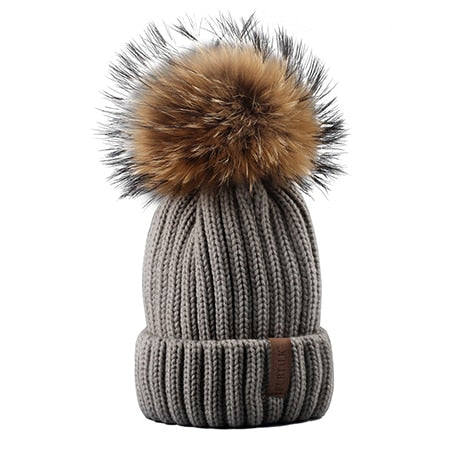 Furtalk Knitted Real Fur Hat 100% Real Raccoon Fur Pom Pom Hat Winter Women Hat beanie for women-modlily