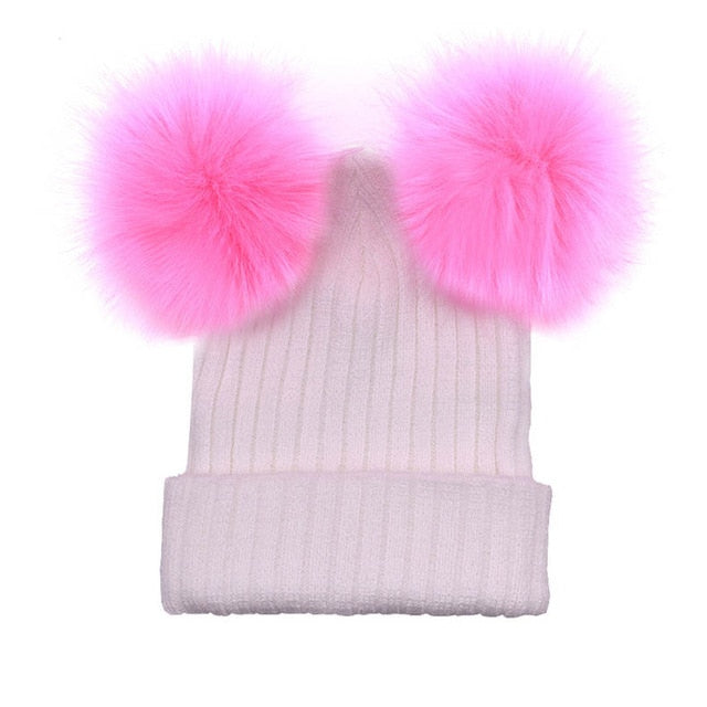 AWAYTR Fur Ball Cap 2 Pom Poms Winter Hat for Women Girl 's Wool Hat Knitted Cotton Beanies Cap Brand New Thick Female Cap-modlily