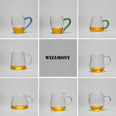 WIZAMONY Hot Sale!!!!!!!!!!! tea set teapot Heat-Resisting Glass Tea Pitcher fair mug Cha hai Gongdao Teacup Capacity  400ml