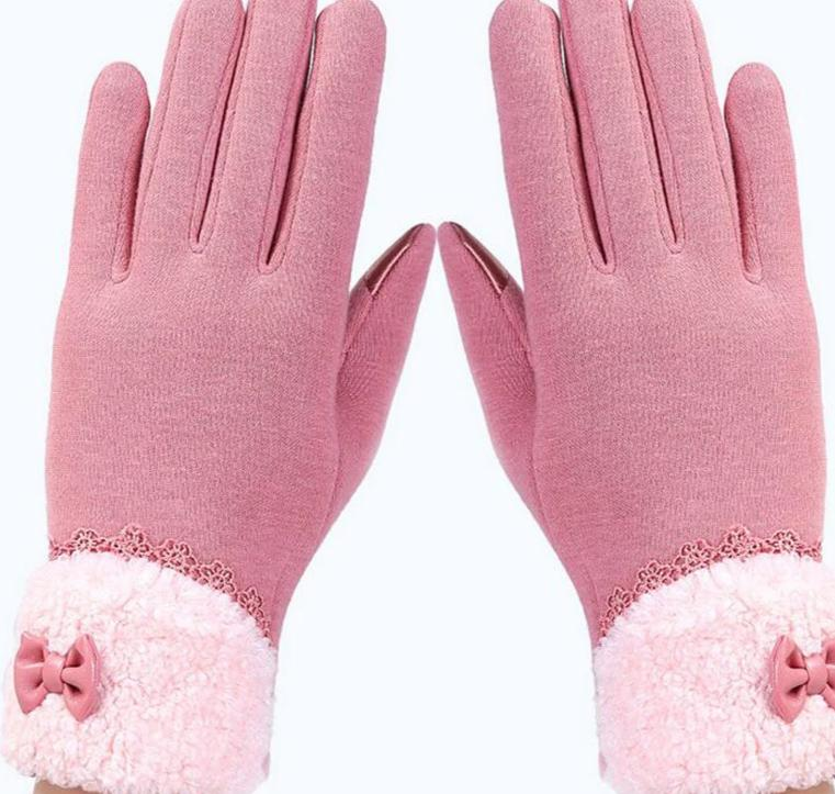 Womens Touch Screen Gloves Winter Fashion Bow Ladies Lace Splice Warm Gloves Mittens Cashmere Female Wrist Guantes Gift 16A-modlily