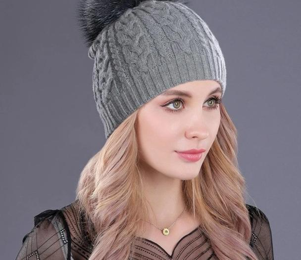 [boapt] cashmere soft thick warm double-deck twist knit caps hats for women's winter genuine raccoon fur pompons ladies beanie-modlily
