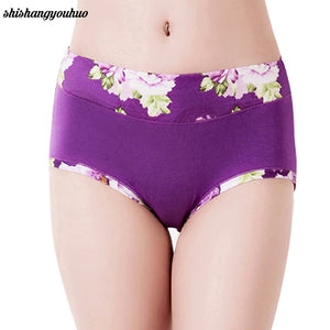 Plus Size Women Underwear Panties Ladies Seamless y Briefs Floral Print Calcinhas Intimates Underpants Ropa-modlily