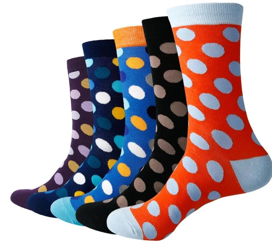 Match-Up Men Colorful Big Dot Cotton Crew socks (5 pairs / lot )-modlily