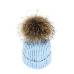 Lanxxy 2016 New Women Winter Hats Real Mink Fur Pom Poms Hat Girls Cotton Knitted Skullies Beanies Caps Fur Pompom Hats Bonnet-modlily