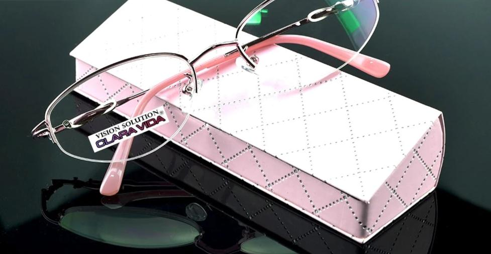 = CLARA VIDA = Design Half-rim Coated HD Lenses Fashion Pink Office Lady Reading Glasses +1 +1.5 +2 +2.5 +3 +3.5 +4 With Case-modlily