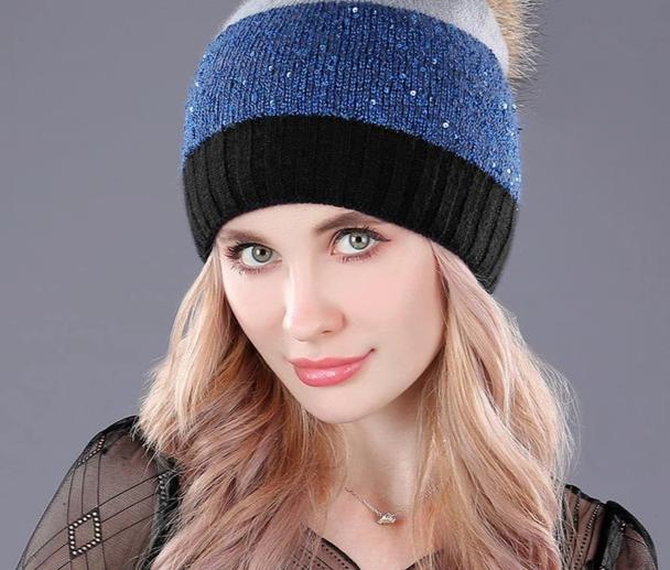 [boapt] sequins double-deck rabbit knited thick winter hats headgear for women's caps raccoon fur pompon cap female hat beanies-modlily