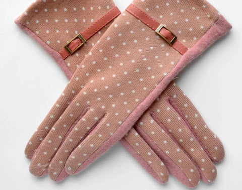 [BYSIFA] Women Polka Dot Wool Mittens Gloves Fashion Metal Buckle And Pu Design Cashmere Gloves Elegant Thick Warm Pink Gloves