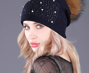 [boapt] rhinestones diamond pearl double-deck knitted cashmere winter hats women cap real raccoon fur pompom hat female beanie-modlily