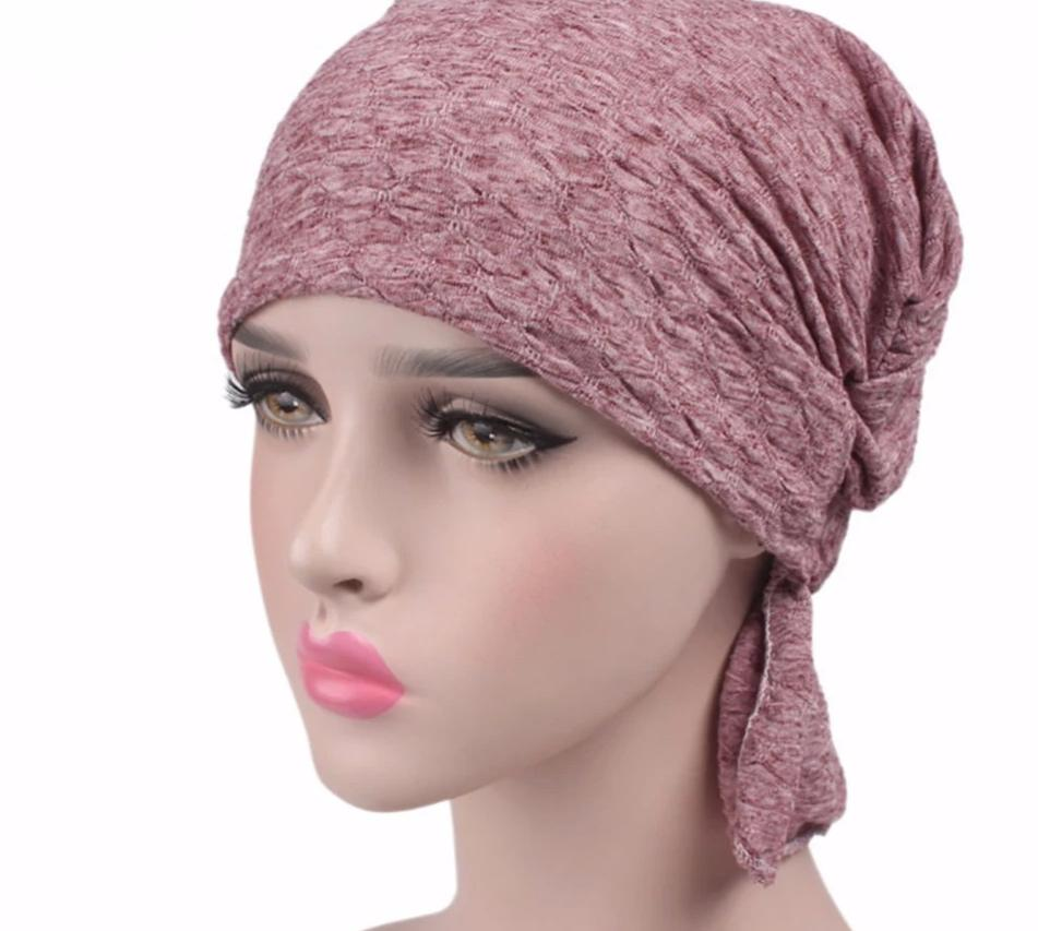 NEW Breathable Women's Bubble Cotton Kerchief Chemo Hat Beanie Turban Head cap Headwear for Cancer Patients Muslim solid color-modlily