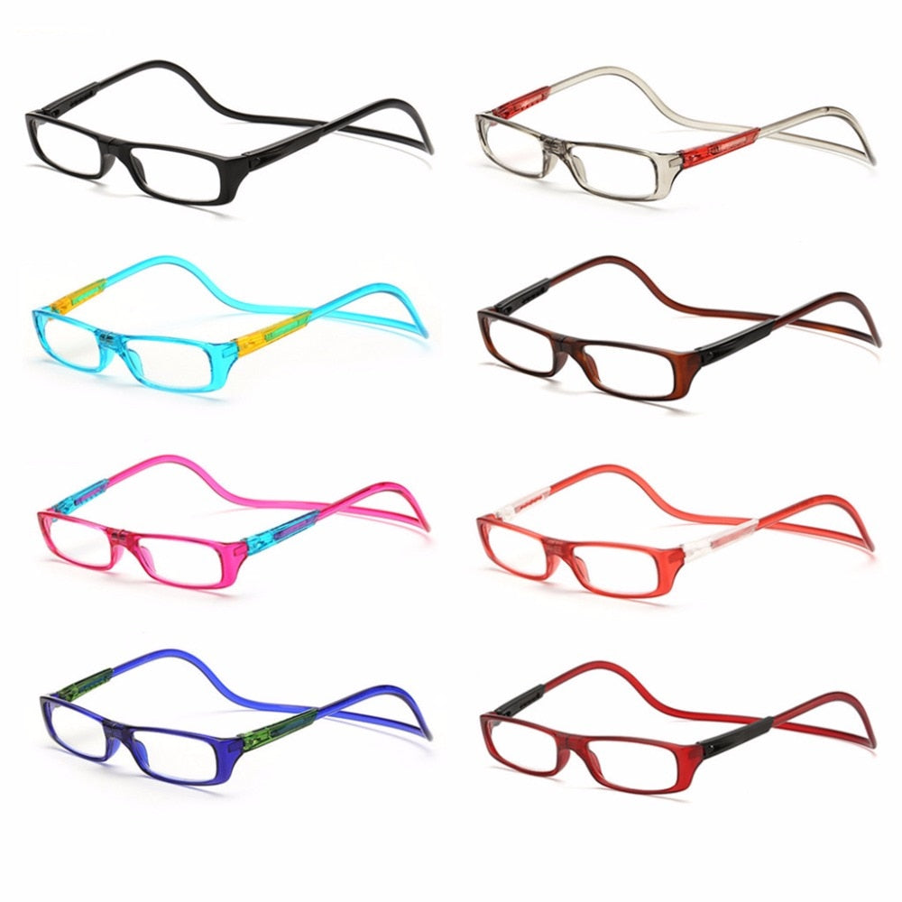 Upgraded Unisex Magnet Reading Glasses Men Women Colorful Adjustable Hanging Neck Magnetic Front presbyopic glasses-modlily