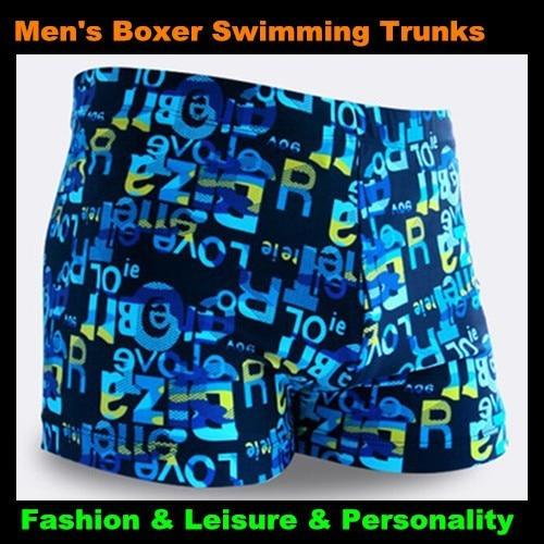 Top Men & Children Letter Pattern Boxer Trunks Swimwear Fashion Board Shorts Boy's Beach Hot Springs,Big Yards-modlily