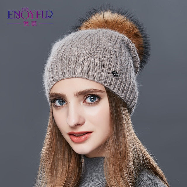 ENJOYFUR High Quality Cashmere Women Winter Hats Fashion Link Type Knitted Hat Female Girl Autumn Fur Pompom Beanies 2018-modlily