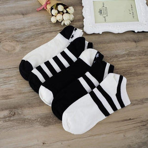 miaoxi 5 Pairs New Casual Summer Men Stripe Sock High Quality Fashion Cotton Blending White Comfortable Boat Short Sock For Man-modlily