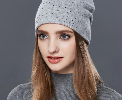 ENJOYFUR Cashmere Knitted Hat Female Warm Wool Winter Hats Women's Rhinestones Skullies Beanies Girl Thick Gravity Falls Cap