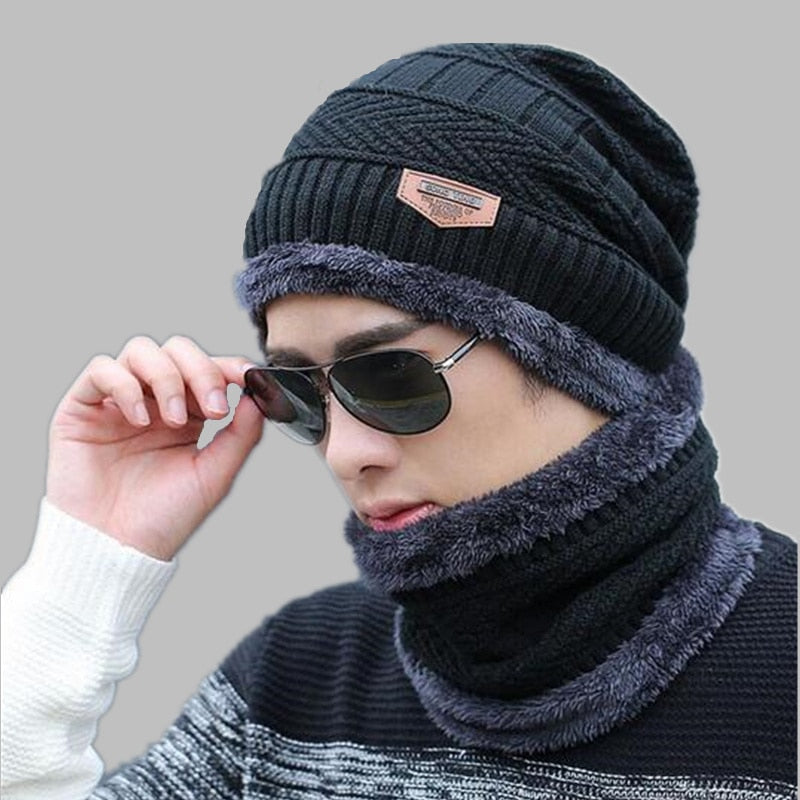 oZyc Balaclava Knitted hat scarf cap neck warmer Winter Hats For Men women skullies beanies warm Fleece dad cap Beanie Knit Hats-modlily