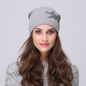 Andybeatty Women's Winter Hats Knitted Wool Skullies Casual Cap with Flower Pattern Gorros Thick Warm Bonnet Beanie Hat for girl-modlily