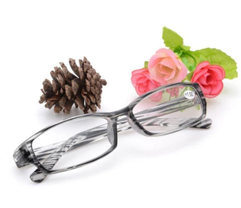 YOOSKE Fashion Reading Glasses 2.5 3.0 PC Stripe frame Spectacles Transparent Glasses HD Resin Lens Men Women Reading Eyeglasses
