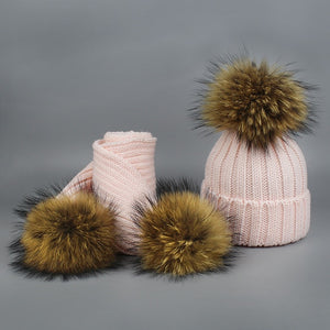 New 2 Pieces Set Children Winter Hat Scarf for Girls Hat Real Raccoon Fur Pom Pom Beanies Woman Cap Knitted Winter Hat Wholesale-modlily