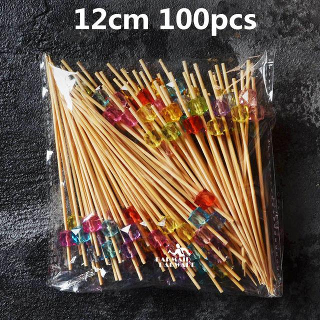 100pcs/200pcs 12cm/15cm Different Style Bamboo/PVC Food Picks fruit fork Sticks Buffet Cupcake Toppers Cocktail Picks Bar Tools-modlily