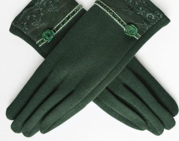 [BYSIFA] Cashmere Wool Women Gloves Winter Thick Ladies Lace Embroidered Wool Gloves Grey And Green Elegant Soft Mittens Gloves