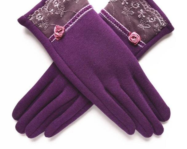 [BYSIFA] Cashmere Wool Women Gloves Winter Thick Ladies Lace Embroidered Wool Gloves Grey And Green Elegant Soft Mittens Gloves-modlily