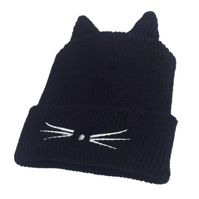 Fashion Women Lady Knitting Cap Devil Horns Cat Ear Crochet Hat Braided Winter Keep Warm Beanie Girl Casual Knitted Caps New-modlily
