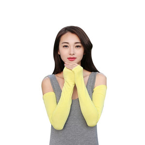 Women Sunscreen Arm Warmer Half Finger Cotton Long Fingerless Gloves Cuff Sun Hand Protection Anti-UV Simple Design-modlily