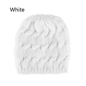 1 Pcs New Fashion Women Girls Knitted Baggy Hat Crochet Braided Skull Cap Ski Beanie Autumn Winter Warm Lovely Hat-modlily