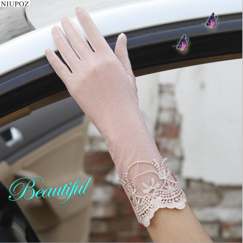 Sexy Spring Summer Women Autumn UV Sunscreen Short Sun Gloves Fashion Ice Silk Lace Driving Of Thin Touch Screen Gloves G02B-modlily