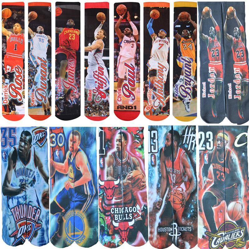 3D printed socks Michael JD/LB James//GREFFIN/Curry/KB Bryant/Kevin Durant/Anthony/Paul USA brand odd socks Men Socks-modlily