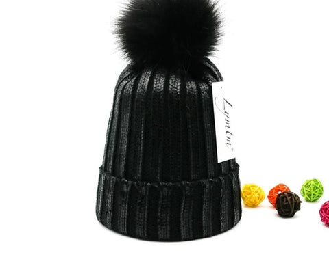[Lymtm] 2018 Autumn Bright Black Knit Cotton Beanies Women Faux Fur PomPoms Skullies Caps Winter Thick Warm High Quanlity Hats