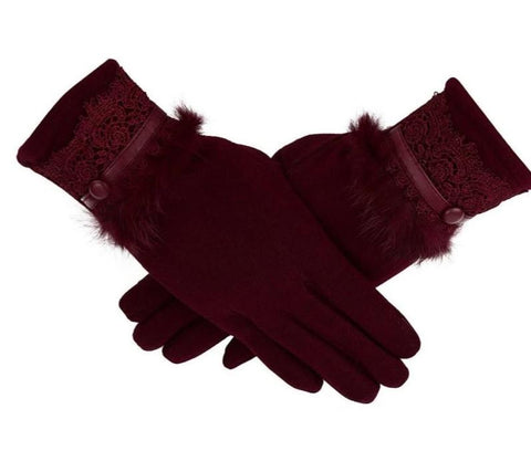 Women's Winter Gloves Solid Color Warm  Glove Cashmere Full finger gloves