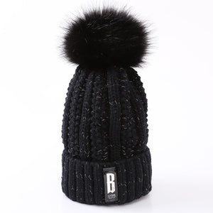 2017 Fashion Skullies Beanies Winter Hats For Women Brand Knitting Warm Cap Female Pompoms Ball Thick Hat-modlily