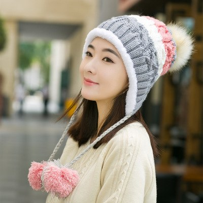 BINGYUANHAOXUAN Stitching knitted Hat for Women Mixed ball Hanging ball Winter Caps for Girls Thick Cotton hats adult autumn hat-modlily