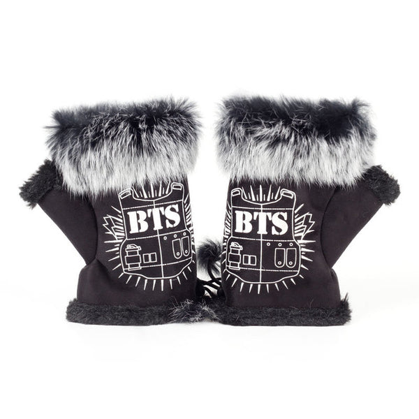 Winter BTS cute warm plush thick nylon warm gloves female plush fingerless personality rope gloves women's fur faux fur gloves