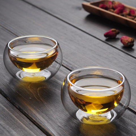 [GRANDNESS] 6 Pcs Heat Resistant Double Wall Glass Tea Cup Double Layer Clear Glass Teacup 50ml