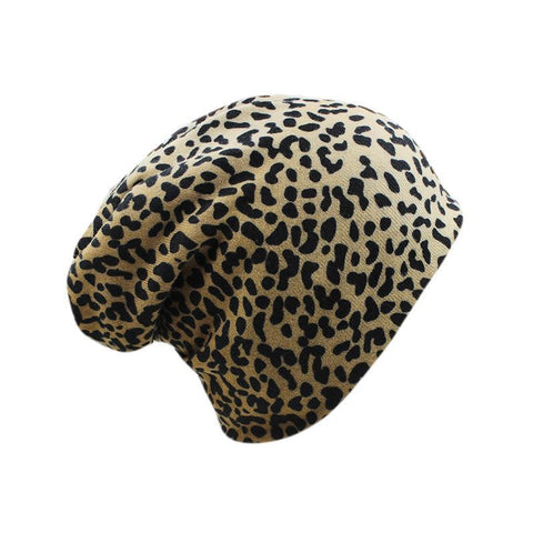 miaoxi New Women Autumn Spring Leopard Hat Caps Female Beanies Skullies Ladies Knitted Polyester Gorros Warm Wool Scarf For Girl