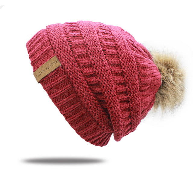 2017 hot Double layer fur ball cap pom poms winter hat for women girls hat knitted beanies cap thick female cap-modlily