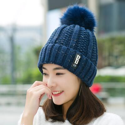 BINGYUANHAOXUAN B letters knitted Hat Women Brand High Quality Winter Women Ball Ski Rabbit Fur Hat PomPoms Hats knitted scarf-modlily
