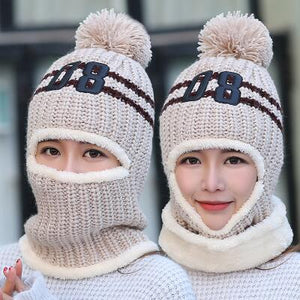 BINGYUANHAOXUAN 2017 knit Cap Scarf Cap two-piece Winter Hats For Women Fur Winter Beanie Fleece Hat balaclava with Neckwa rmer-modlily