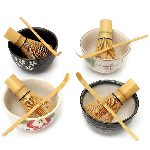 [GRANDNESS] Tea Ceremony Matcha Ceramic Tea Bowl Bamboo Tea Scoop Matcha Whisk Japanese Teaware Tea Tool 4 Style Matcha Bowl Set-modlily