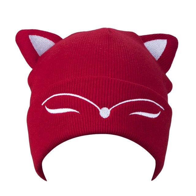 AWAYTR Woman Knitted Hat Wool Cotton Cuff Beanie Hat Ski Cap Spring Autumn Girls Hats for Women Sock Caps Stocking Hat Cat-modlily