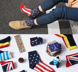 men's socks spring seven days week socks British Wind flag hit color retro literary Metrosexual 7 days cotton socks-modlily